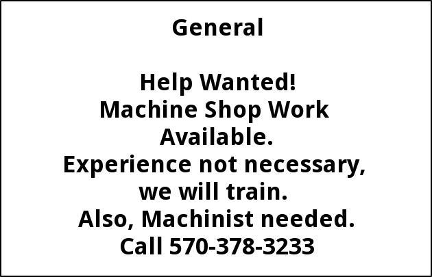 Machine Shop Work