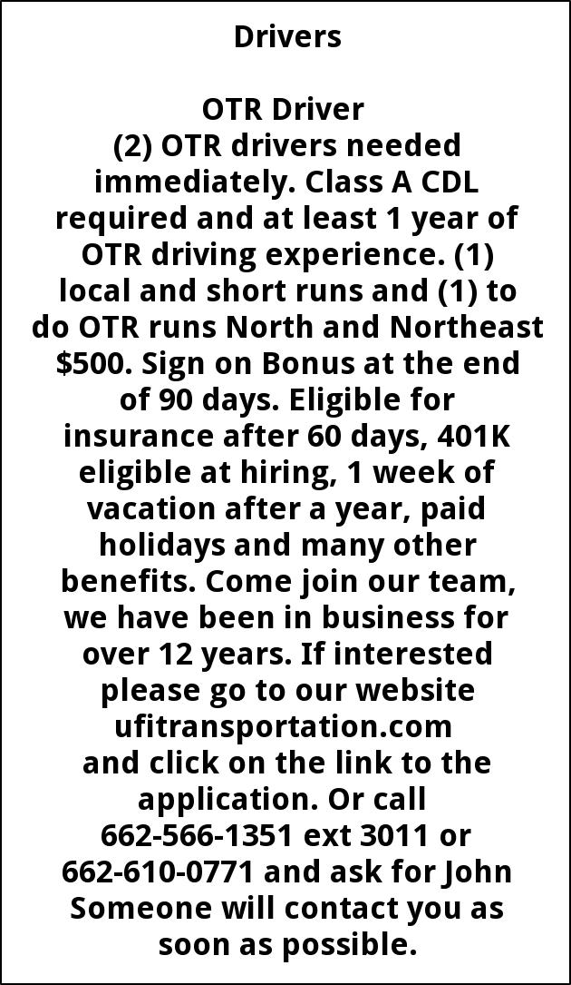 OTR Driver, Ufi Transportation, Llc, Tupelo, MS