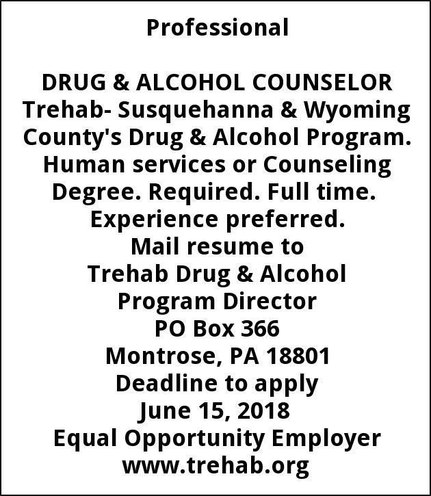Drug Alcohol Counseler Trehab Inc Montrose Pa