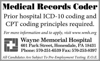 Medical Records Coder