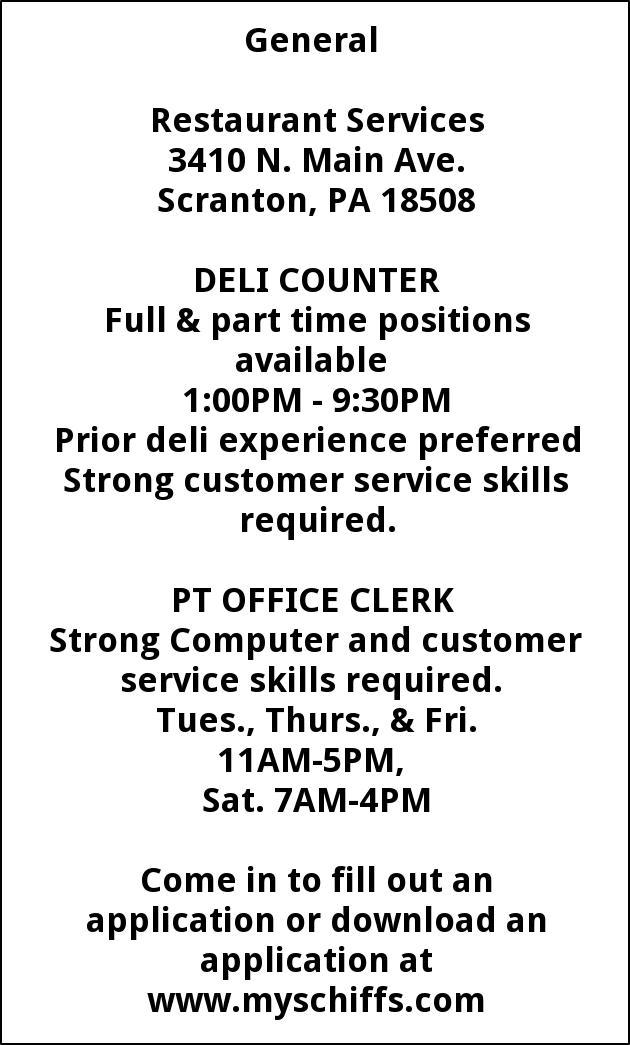 Deli Counter  Office Clerk