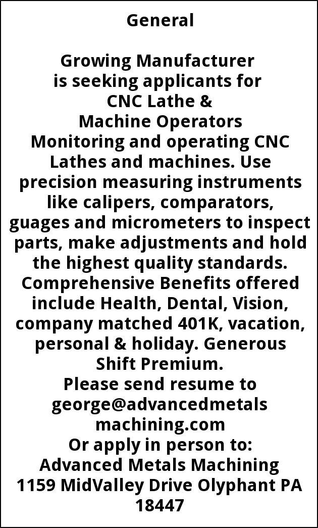 CNC Lathe & Machine Operators