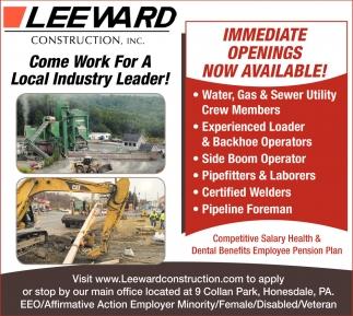 Water, Gas & Sewer Utility Crew Members Experienced Loader & Backhoe