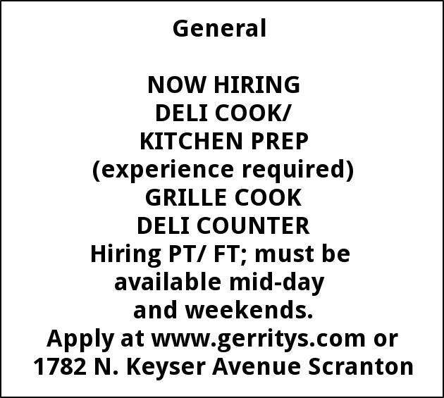 Deli Cook, Kitchen Prep, Sandwich Shoppee, Grill Cook, Deli Counter