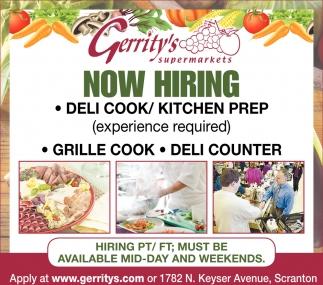 DELI COOK/KITHCEN PREP, SANDWICH SHOPPE/GRILL COOK, DELI COUNTER