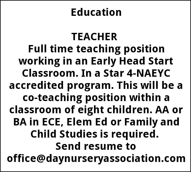 INFANT/TODDLER TEACHER NEEDED