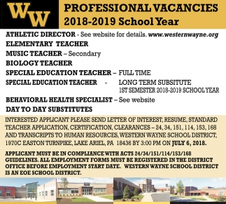 ATHLETIC DIRECTOR , ELEMENTARY  TEACHER , MUSIC TEACHER - SECONDARY, BIOLOGY TEACHER, SPECIAL EDUCATION TEACHER  FULL TIME, SPECIAL EDUCATION TEACHER  LONG TERM SUBSITUTE, BEHAVIORAL HEALTH SPECIALIST, DAY TO DAY SUBSTITUTES