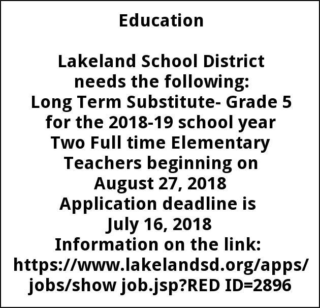 Long Term Substitute Grade 5  Two Full time Elementary Teachers