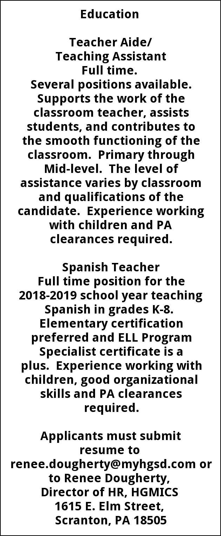 Teacher Aide Teaching Assistant Spanish Teacher Howard Gardner School