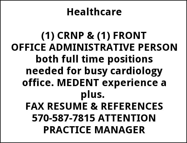 CRNP & Front Office Administrative Person