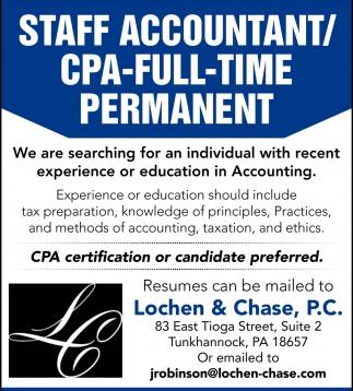 Staff Accountant Cpa Lochen Chase Pc