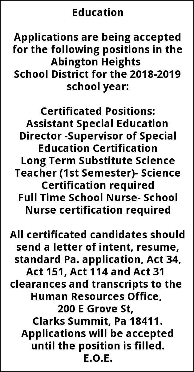 Assistant Special Education Director Long Term Substitute Science ...