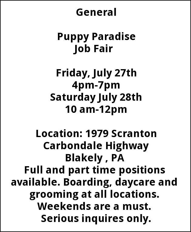 Job Fair Puppy Paradise Scranton Pa