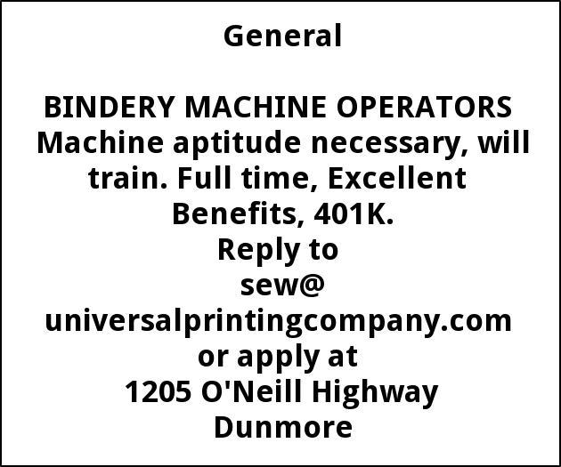 BINDERY MACHINE OPERATORS