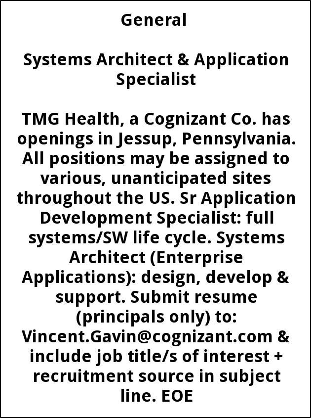 Systems Architect & Application Specialist
