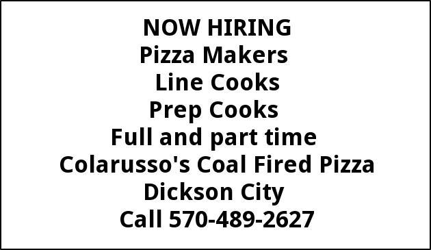 Line Cooks, PIzza Makers, Dishwashers