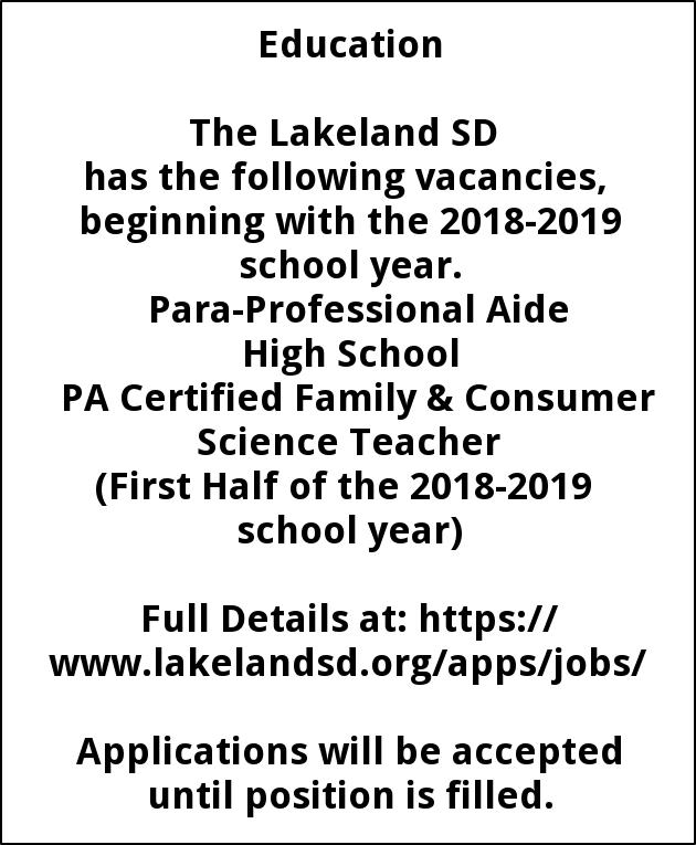 Para Professional Aide-Pa certified Family & Consumer Scienc