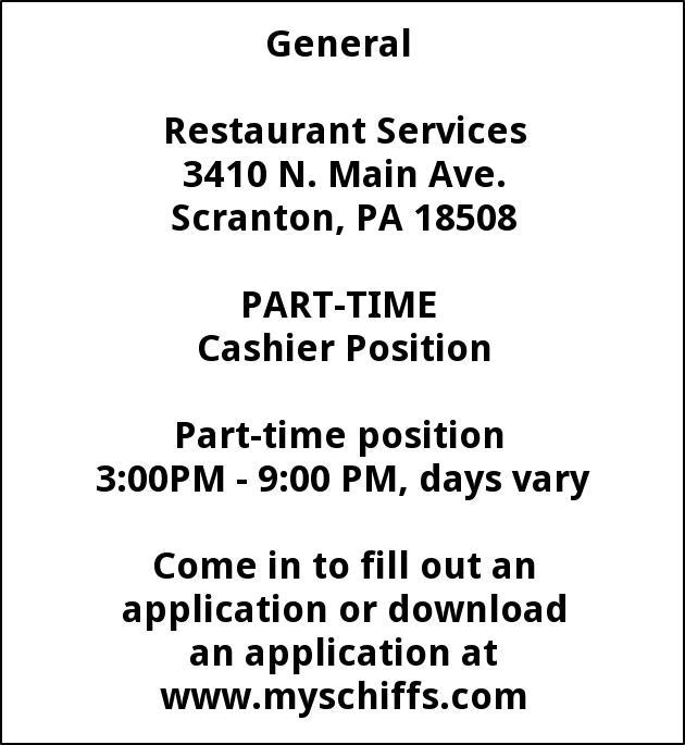 Cashier Position Schiffs Cash Carry Scranton Pa