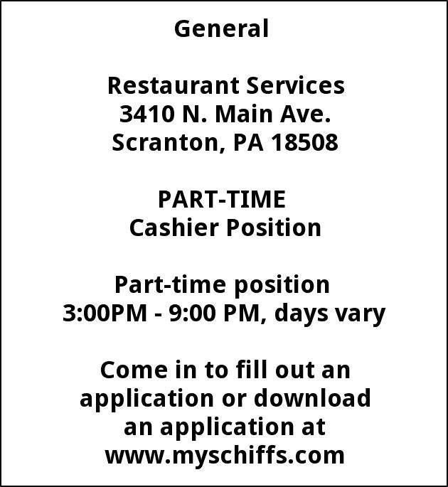 Cashier Position