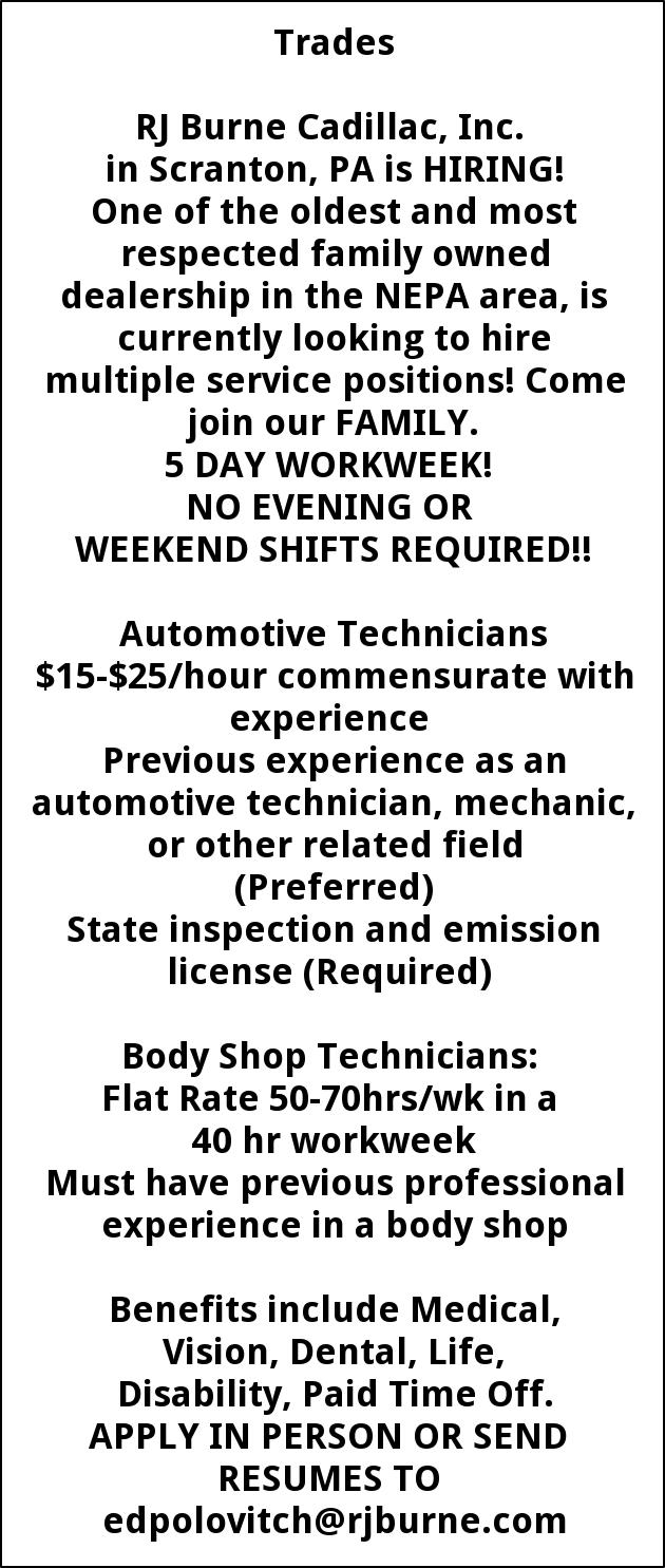 Body Shop Technicians  Automotive Technicians