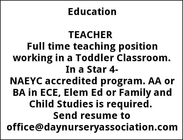 Toddler Teacher Job Description   Toddler Teacher Day Nursery Associates