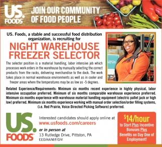NIGHT WAREHOUSE FREEZER SELECTOR, Us Foods