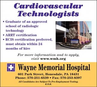 Cardiovascular Technologists Wayne Memorial Hospital Honesdale Pa