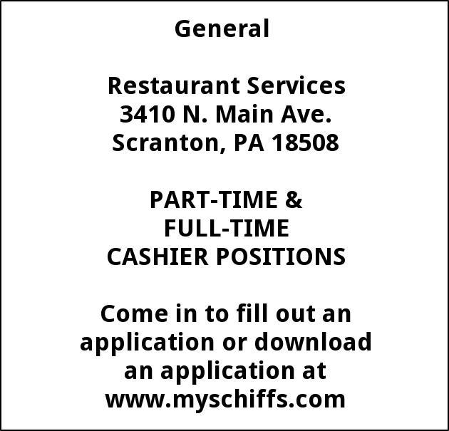 Cashier Positions Schiffs Cash Carry Scranton Pa