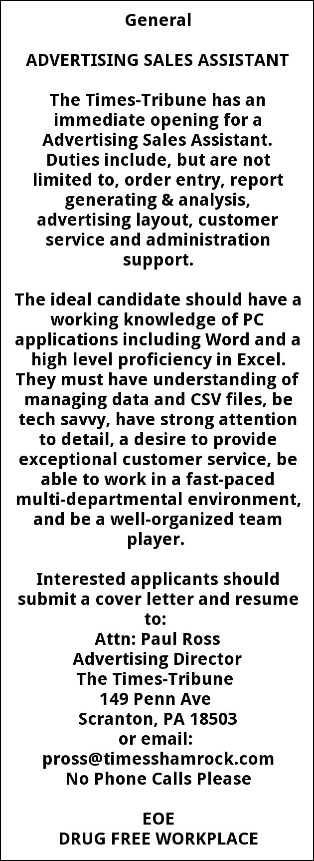 jobs for times shamrock communications in scranton pa general advertising sales assistant