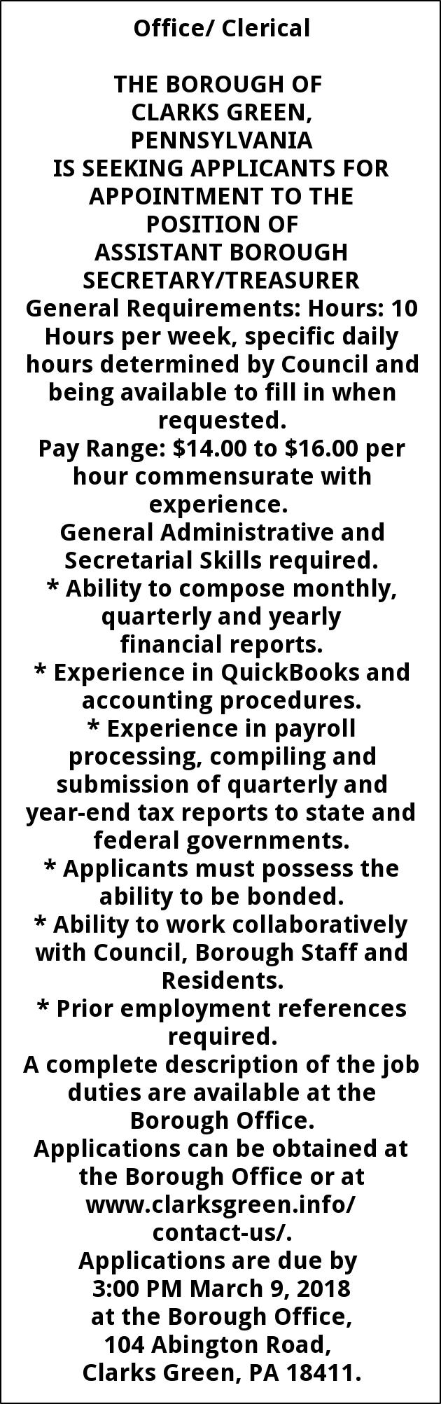 Assistant Borough Secretary/ Treasure