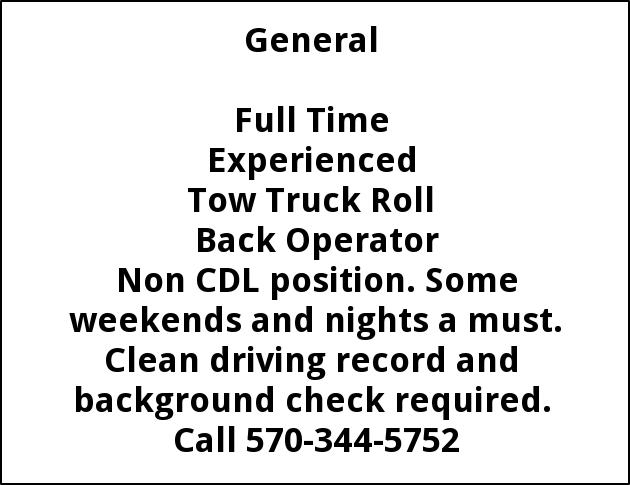 Tow Truck Roll Back Operator, Jordans Towing
