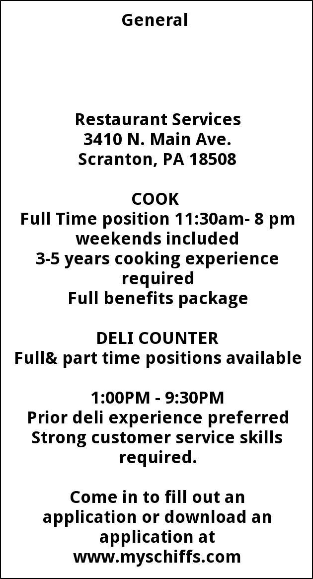 Cook , Deli Counter