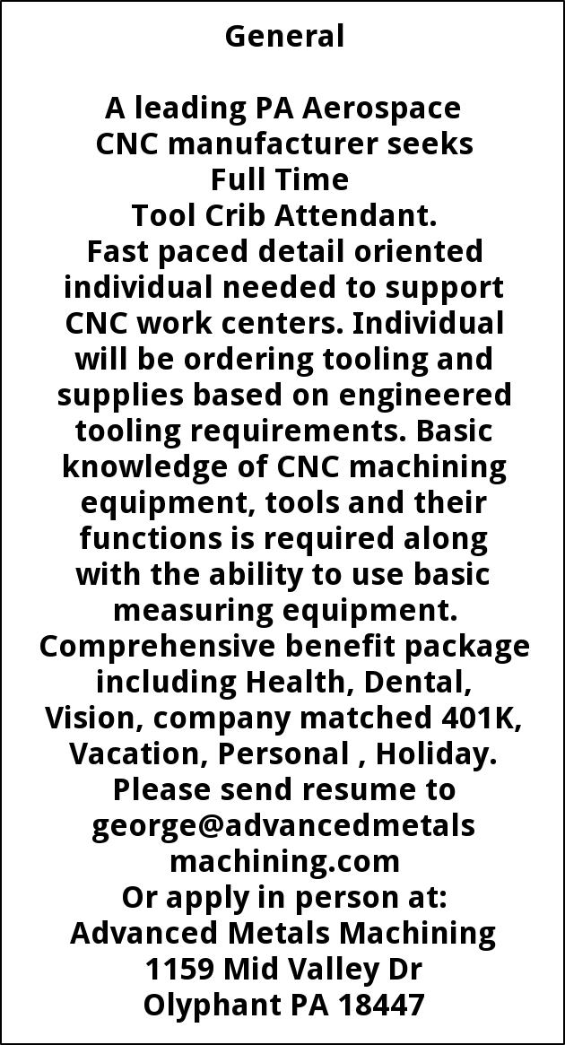 Tool Crib Attendant