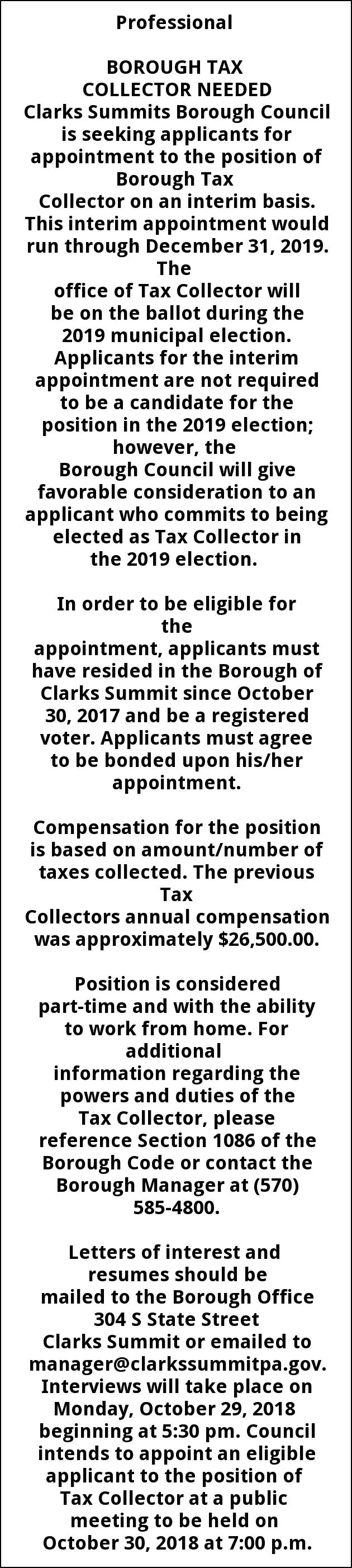 TAX COLLECTOR NEEDED