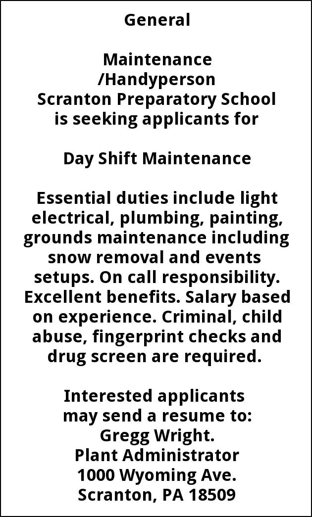 Day Shift Maintenance