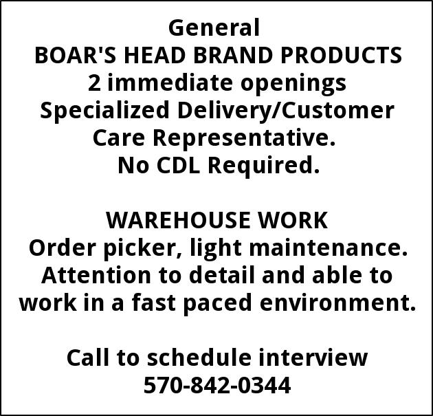 Specialized Delivery/Customer Care Representative, Warehouse