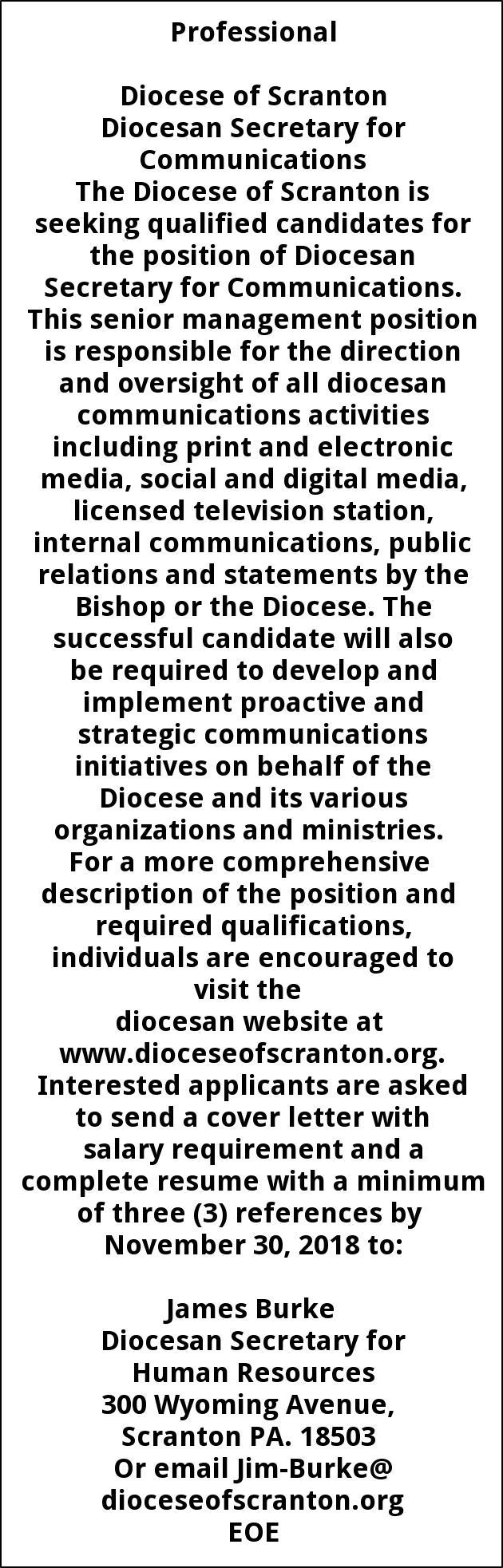 Diocesan Secretary for Communications