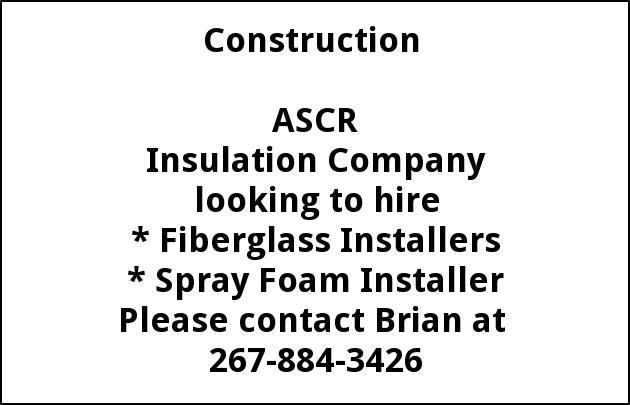 Fiberglass Installers, Spray Foam Installer