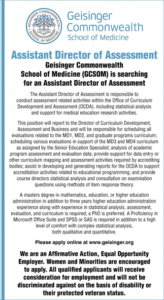 Assistant Director of Assessment