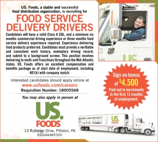 FOOD SERVICE DELIVERY DRIVERS $4,500 SIGN ON BONUS!