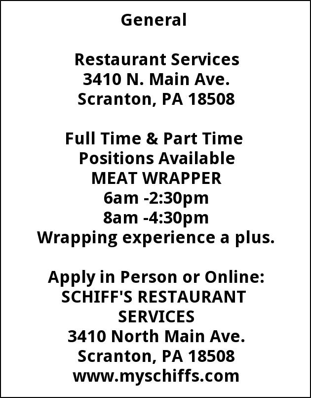 Meat Wrapper Schiffs Cash Carry Scranton Pa