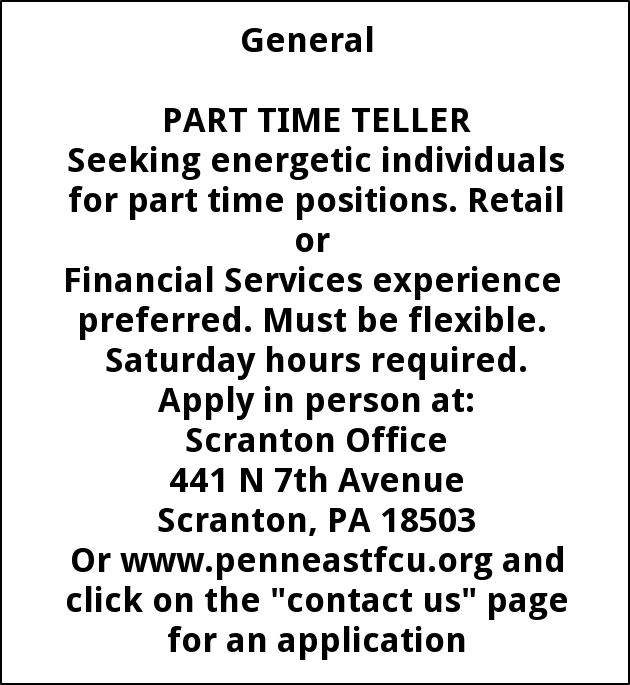 Teller Penn East Federal Credit Union Scranton Pa
