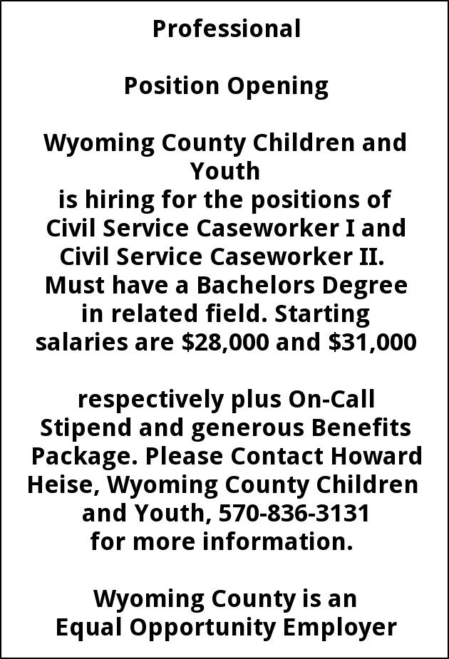 Civil Service Caseworker I and Ii, Wyoming Co Human Services