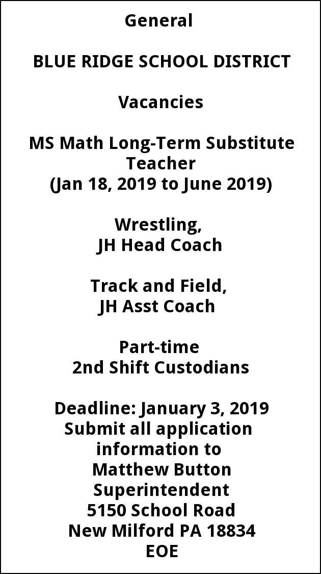 MS Math Long Term Substitute Teacher, Wrestling JH Head Coach, Track and Field JH Assistant Coach, Part Time Second Shift Custodians