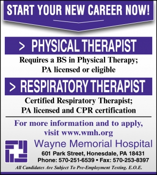 Physical Therapist Respiratory Therapist Wayne Memorial Hospital