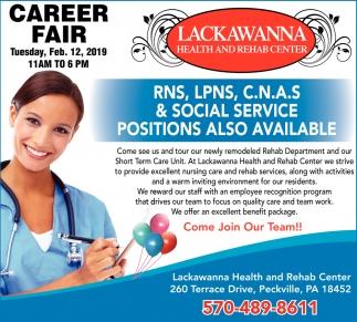 Career Fair Rns Lpns Cnas Social Service Lackawanna Health