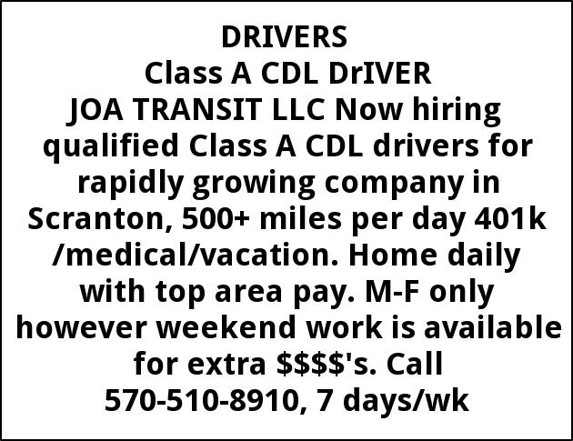 class a cdl driver job