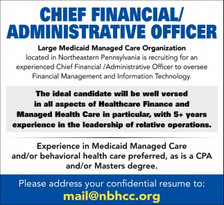Chief Financial  Administrative Officer