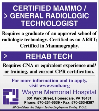 Certified Mammo/General Radiologic Technologist