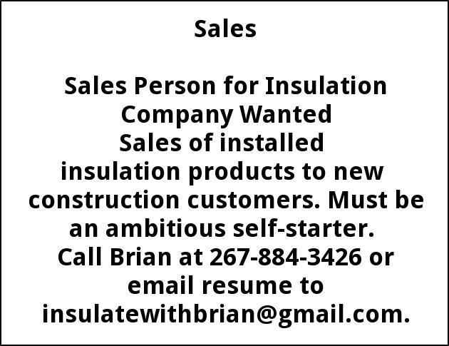 Sales Person for Insulation Company